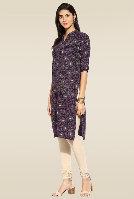 Mytri Purple 3/4th Sleeves Kurta