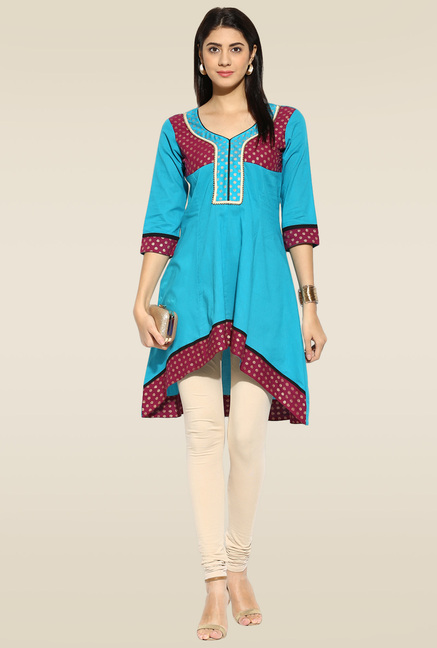 Mytri Aqua Blue 3/4th Sleeves Anarkali Kurta