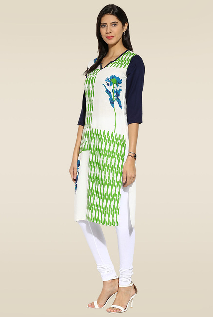 Mytri Off-white & Green Printed Kurta