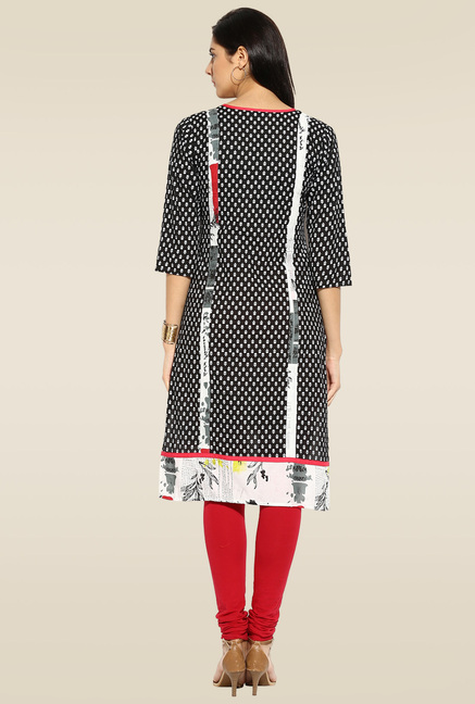 Mytri Black Printed 3/4th Sleeves Kurta