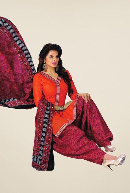 Salwar Studio Orange & Pink Unstitched Patiala Suit