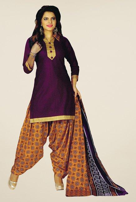 Salwar Studio Purple & Orange Unstitched Patiala Suit