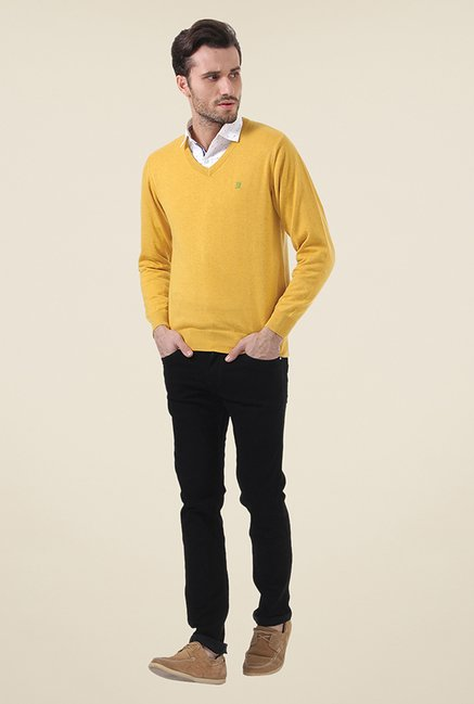 Buy Monte Carlo Yellow Textured Sweater for Men Online