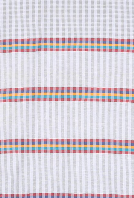 Ishin White Checks Cotton Saree