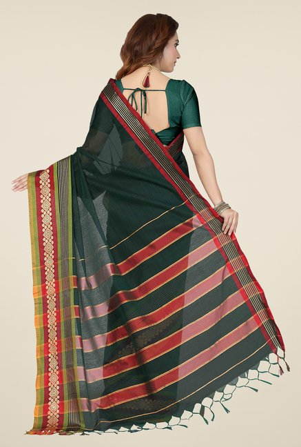 Ishin Green Printed Cotton Saree