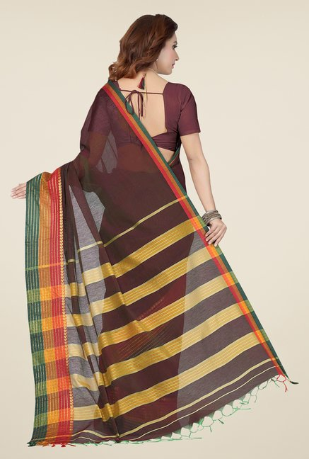 Ishin Brown Checks Cotton Saree