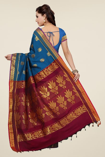 Ishin Blue Printed South Silk Saree