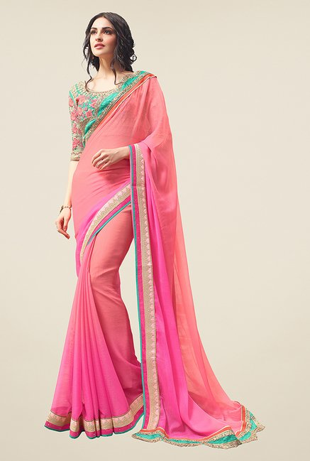 Ishin Peach & Pink Embroidered Chiffon Saree
