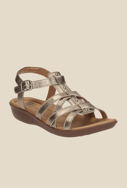 598a185c839c Buy Clarks Manilla Bonita Champagne Ankle Strap Wedges for Women at Best  Price   Tata CLiQ