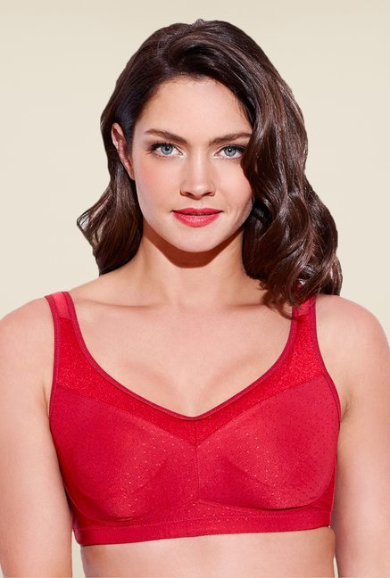 Enamor Red Non Wired Non Padded Seamless Bra