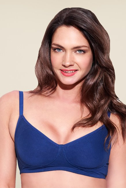 Enamor Navy Non Wired Non Padded Seamless Bra