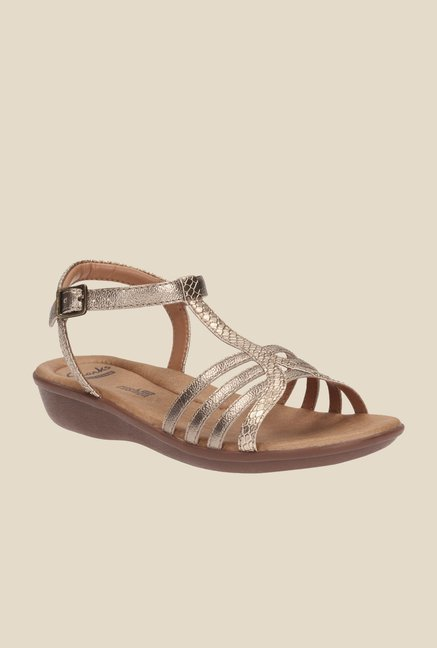 fb62db9f9f366c Buy Clarks Manilla Porta Gold Ankle Strap Wedges for Women at Best Price    Tata CLiQ