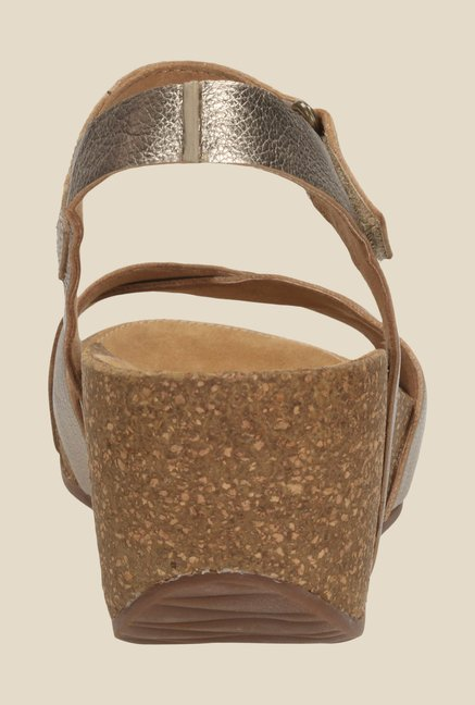 b0bd600081 Buy Clarks Temira Compass Golden Ankle Strap Wedges for Women at ...