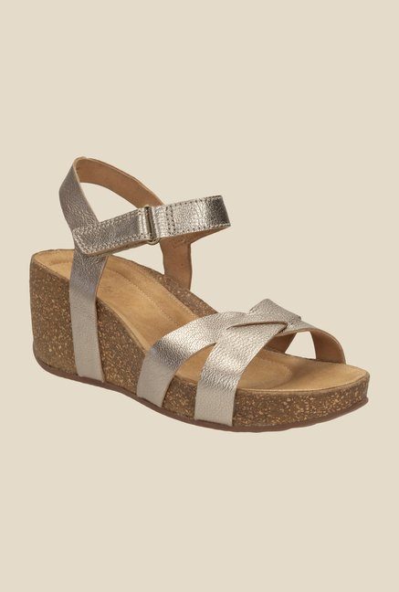 dcf49c1971 Buy Clarks Temira Compass Golden Ankle Strap Wedges for Women at Best Price  @ Tata CLiQ