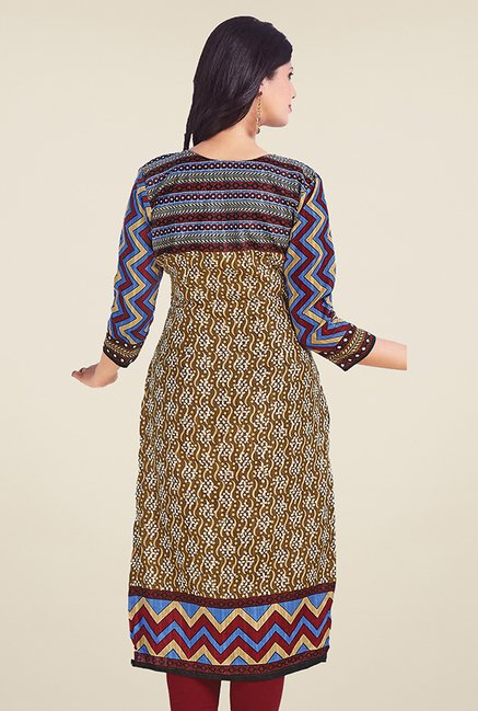 Salwar Studio Brown Unstitched Kurti