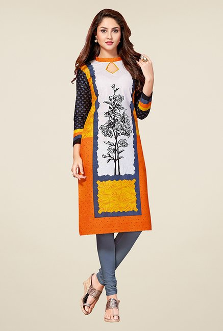 Salwar Studio Orange & Off White Unstitched Kurti