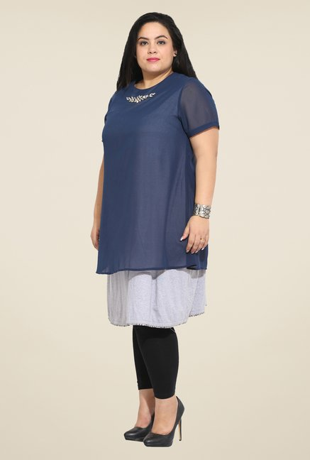 Talinum Navy & Grey Solid Tunic