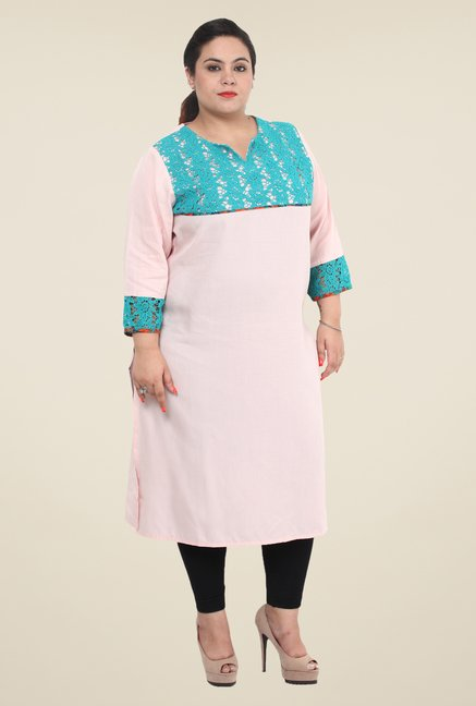 Talinum Light Pink Lace Kurta