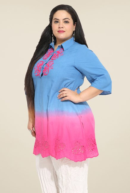 Talinum Blue & Pink Embroidered Tunic