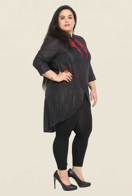 Talinum Black Embroidered Tunic