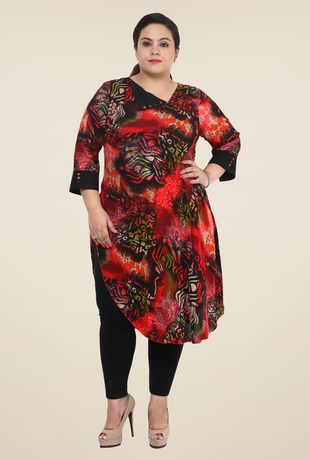 Talinum Red & Black Printed Kurta