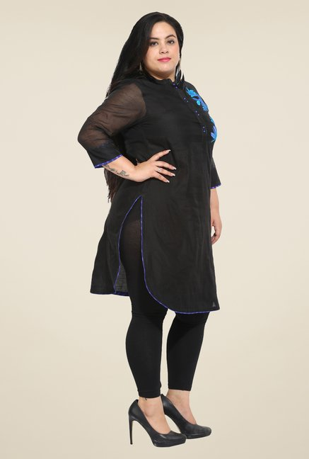 Talinum Black Embroidered Kurti