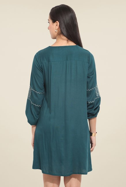 Honey & B Teal Embroidered Dress