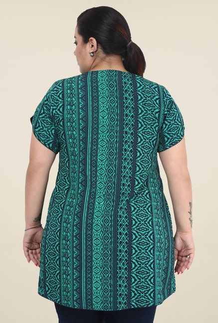 Talinum Turquoise & Navy Printed Tunic