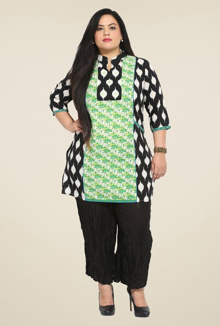 Talinum Green & Black Printed Kurti
