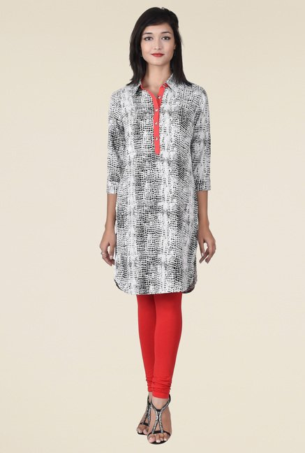 Juniper Black And White Printed Kurta