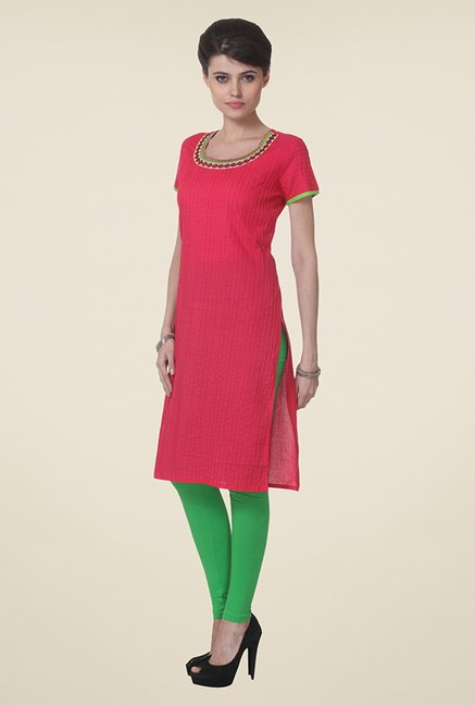 Varanga Pink Embroidered Kurti