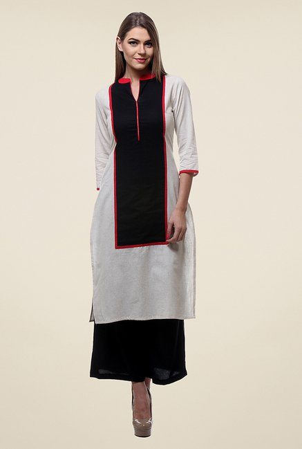 Varanga White & Black Solid Kurta