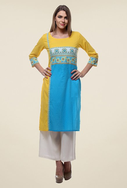 Varanga Yellow & Blue Printed Kurti