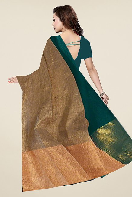 Ishin Green & Gold Solid Poly Cotton Saree