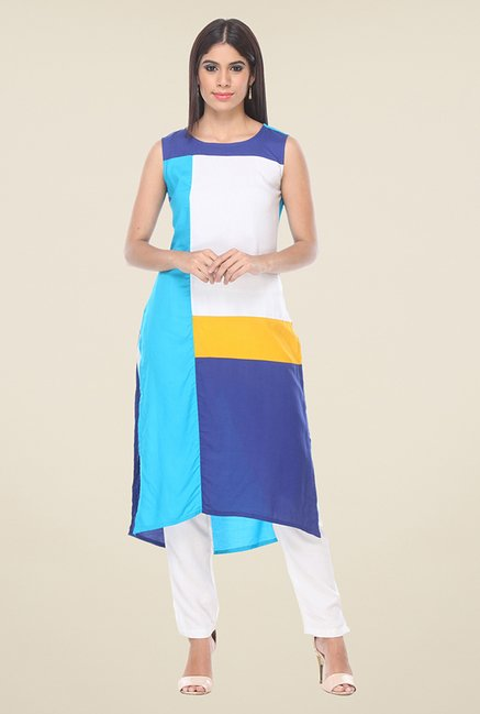 Varanga Blue & White Solid Kurta