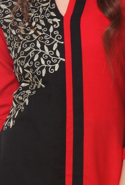 Varanga Red & Black Embroidered Kurti