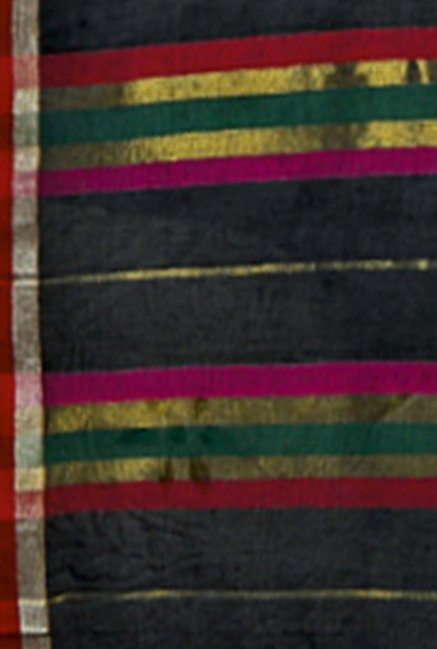 Ishin Black Striped Poly Cotton Saree