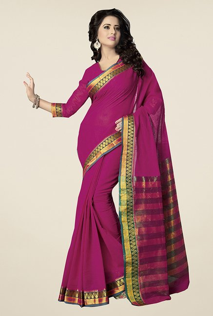Ishin Fuchsia Striped Poly Cotton Saree