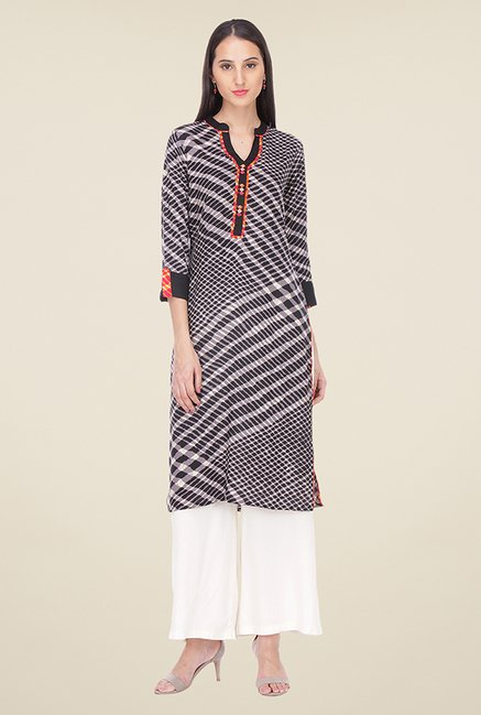 Varanga Black & Grey Printed Kurta