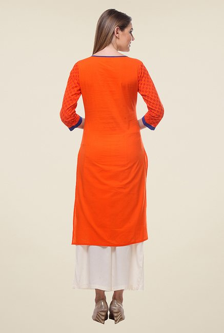 Varanga Orange & Beige Printed Kurta