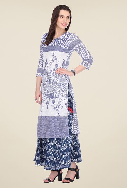 Varanga Off White & Blue Printed Kurta