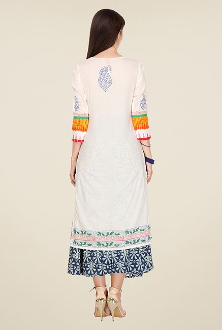 Varanga Off White & Orange Printed Kurta