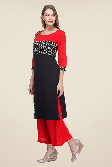 Varanga Black & Red Printed Kurta