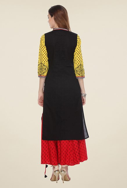 Varanga Black & Yellow Printed Kurta