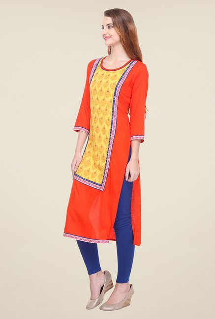 Varanga Orange & Yellow Printed Kurta