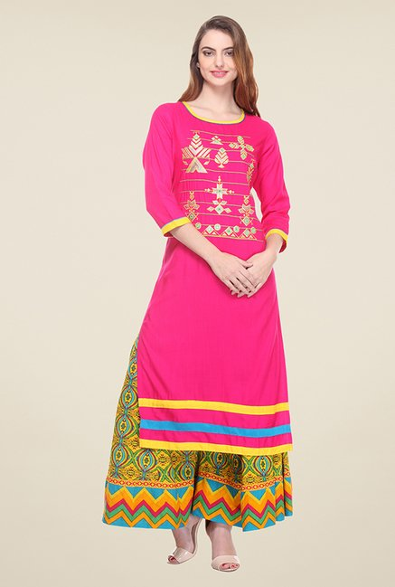 Varanga Pink Embroidered Kurta