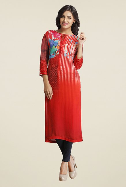 Satya Paul Orange Floral Print Kurta