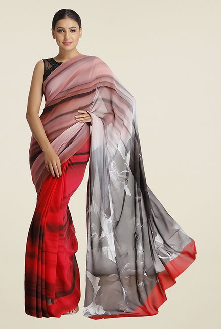 Satya Paul Red Floral Print Georgette Saree