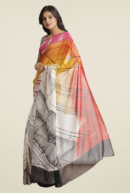 Satya Paul Grey & Orange Printed Super Georgette Satin Saree