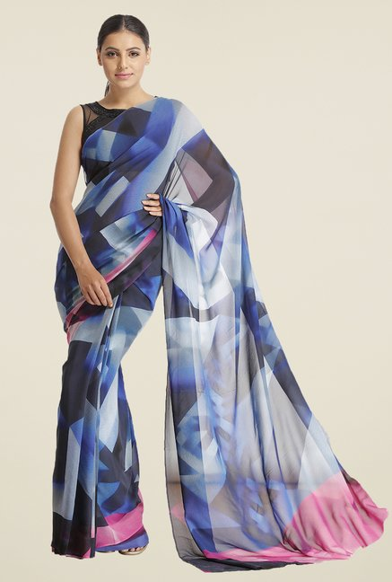 Satya Paul Royal Blue Printed Crepe Saree